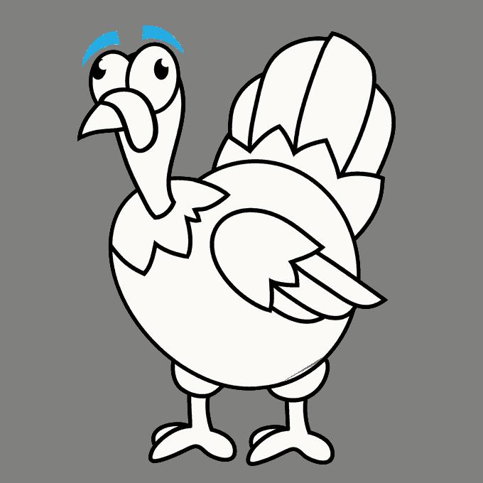 How to Draw Turkey: Step 18