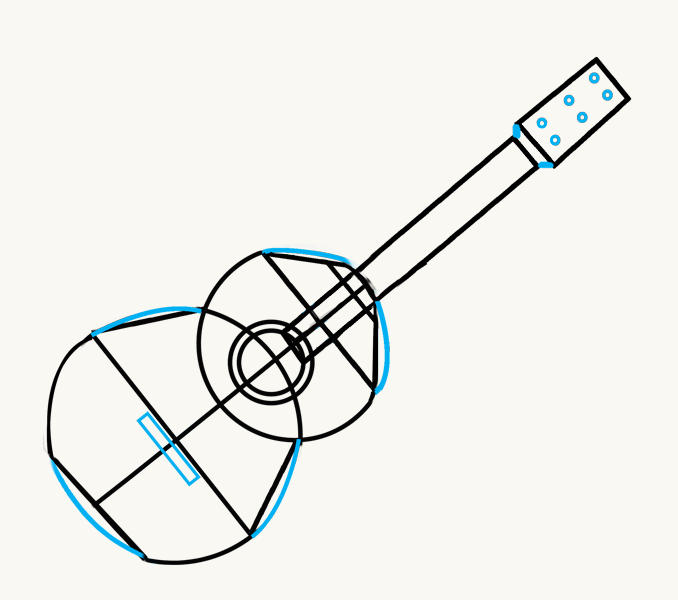 How to Draw an Acoustic Guitar: step 8