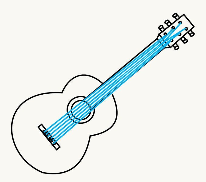 How to Draw an Acoustic Guitar: step 11