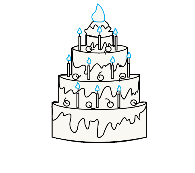 How to Draw a Cake: Step 10
