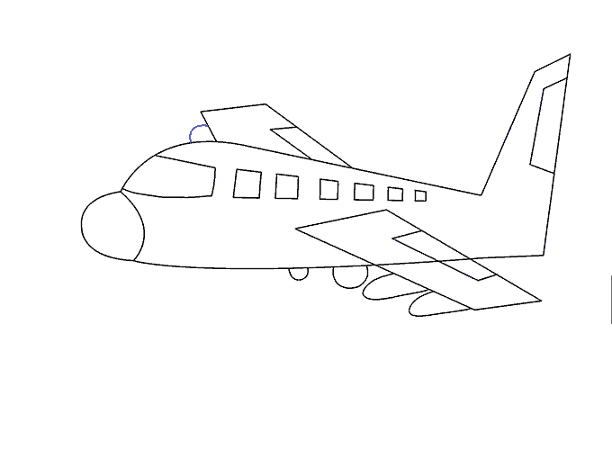 How to Draw Plane: Step 18