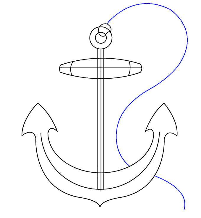 How to Draw Anchor: Step 17
