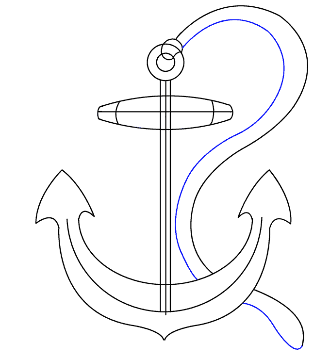 How to Draw Anchor: Step 18
