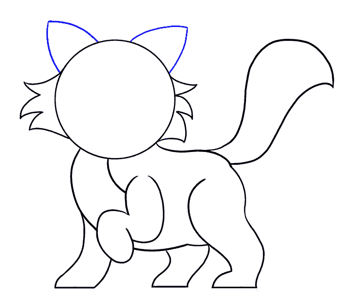 How to Draw Cartoon Cat: Step 10
