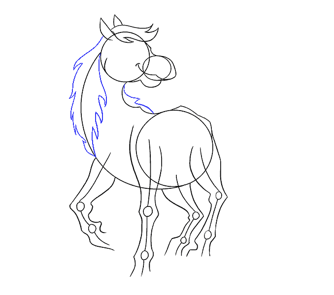 How to draw a cartoon horse Step: 10