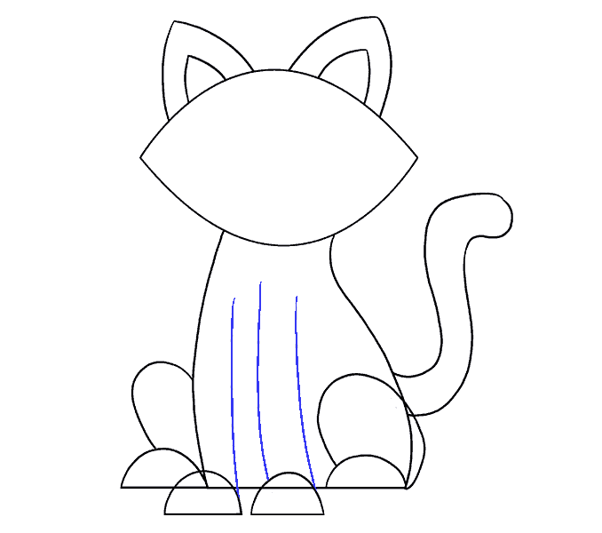 How to Draw Simple Cat: Step 15