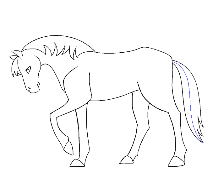 How to draw a simple horse Step: 19