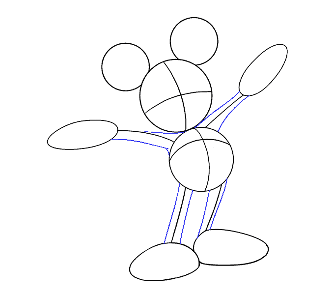 How to draw mickey mouse Step: 07