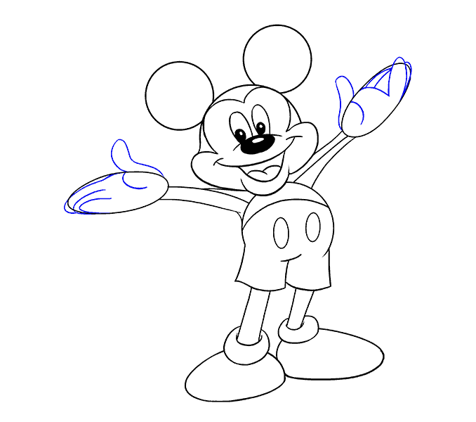 How to draw mickey mouse Step: 16