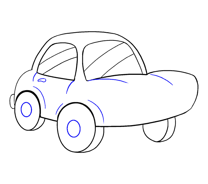 How to Draw Cartoon Car: Step 13