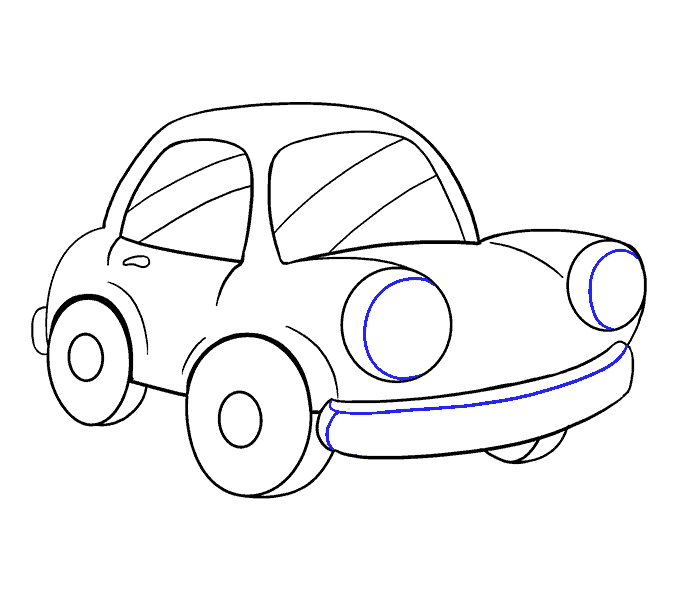 How to Draw Cartoon Car: Step 17