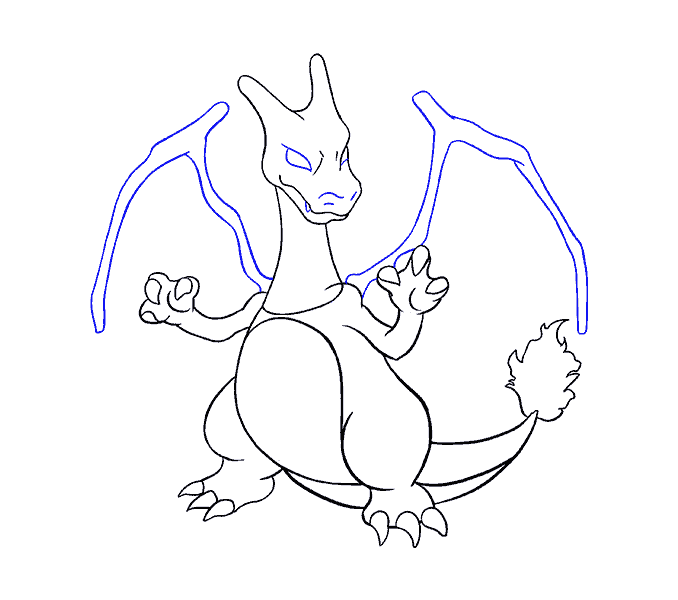how to draw charizard Step: 18