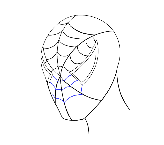 How to draw Spiderman face Step: 14