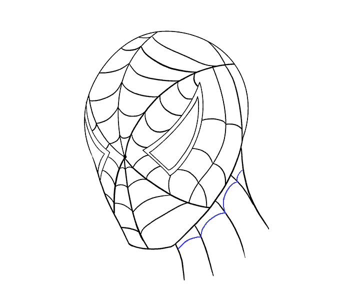 How to draw Spiderman face Step: 18