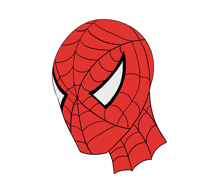 How to draw Spiderman face Step: 21