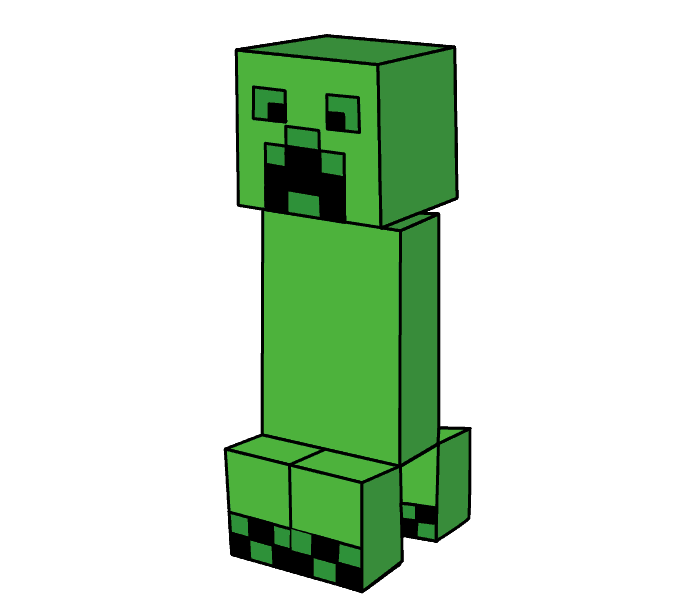 How to Draw Minecraft Creeper: Step 16