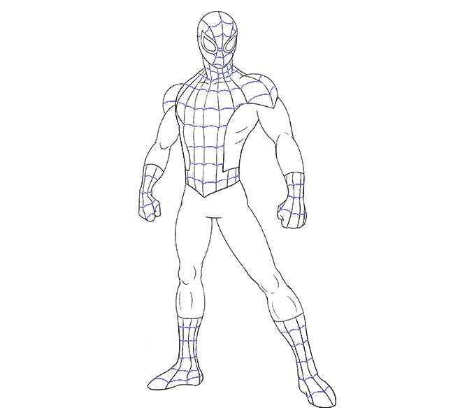 How to draw spiderman Step: 18