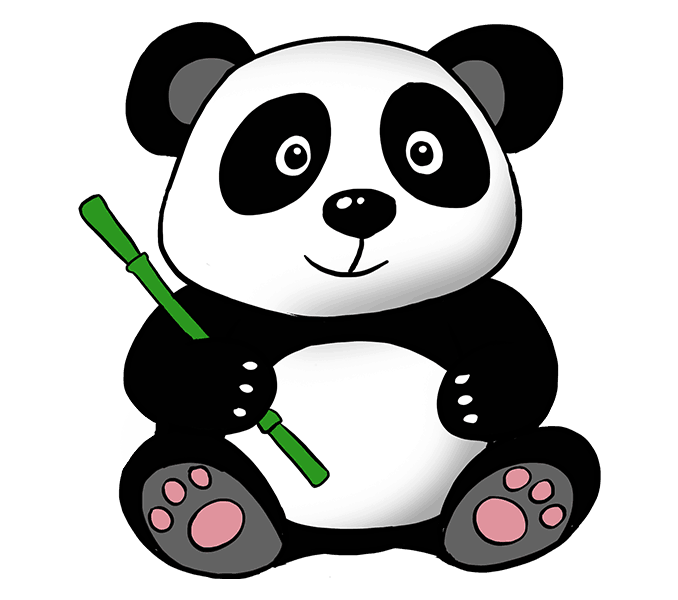 How to draw a cartoon panda Step: 21