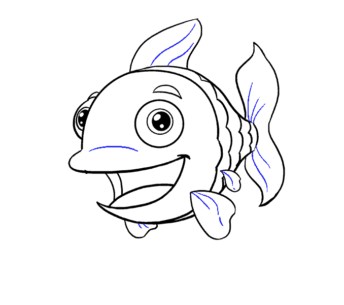 How to Draw Cartoon Fish: Step 18