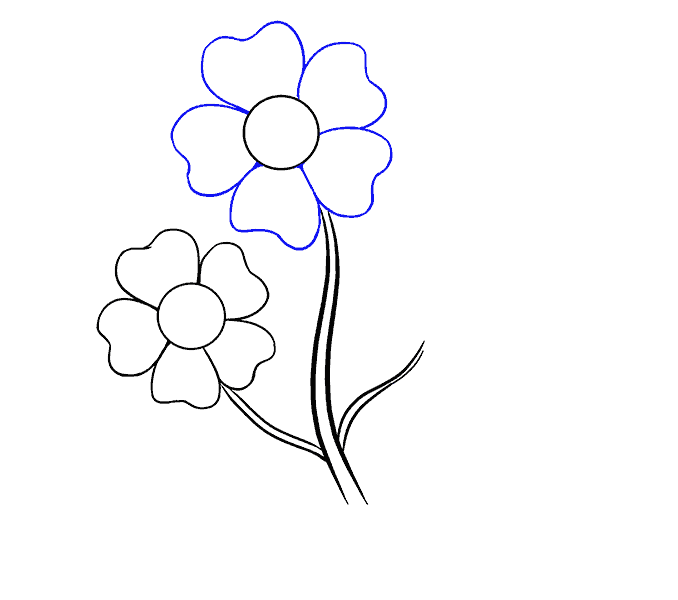 How to Draw Cartoon Flowers Step: 8