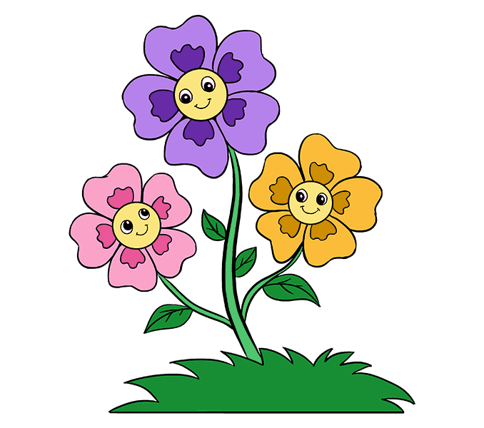 How to Draw Cartoon Flowers Step: 20