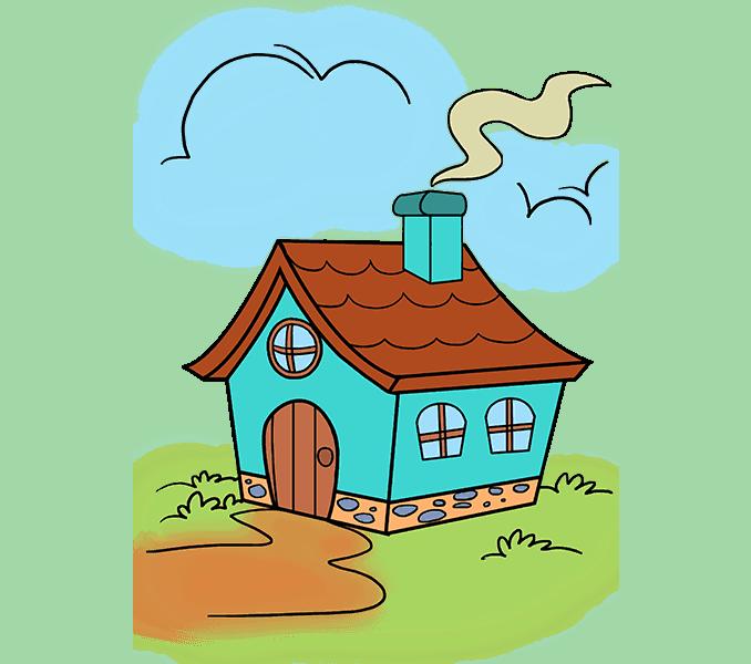 How to draw a cartoon house Step: 20