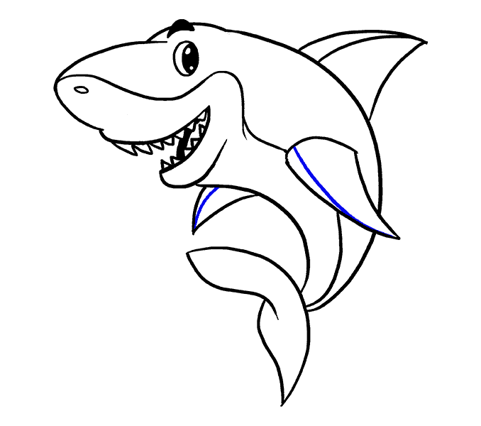 How to Draw Shark: Step 18