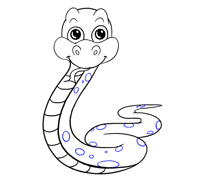 Cómo dibujar una serpiente de dibujos animados: Paso 19