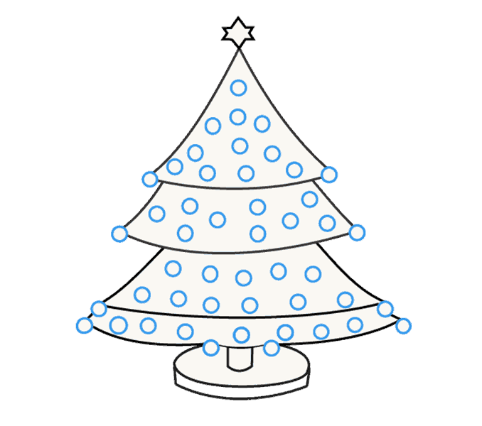 How to Draw Christmas Tree: Step 17