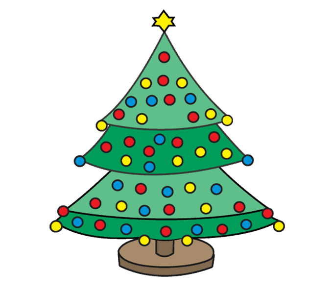 How to Draw Christmas Tree: Step 18