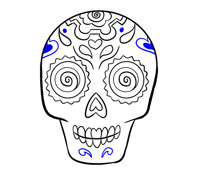 How to Draw Sugar Skull: Step 19