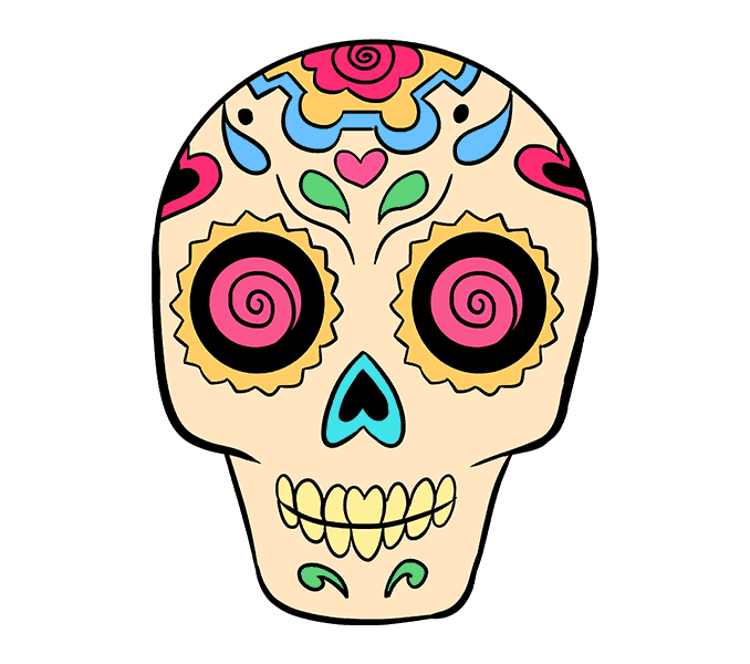 How to Draw Sugar Skull: Step 21