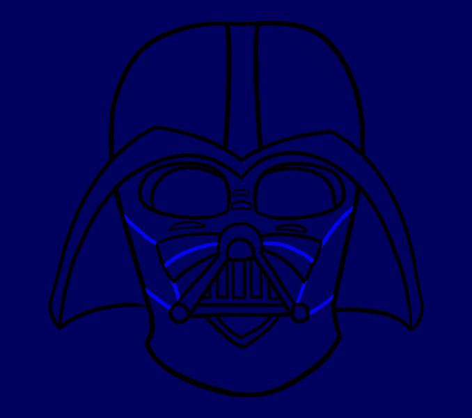 Cómo dibujar Dart Vader: Paso 18