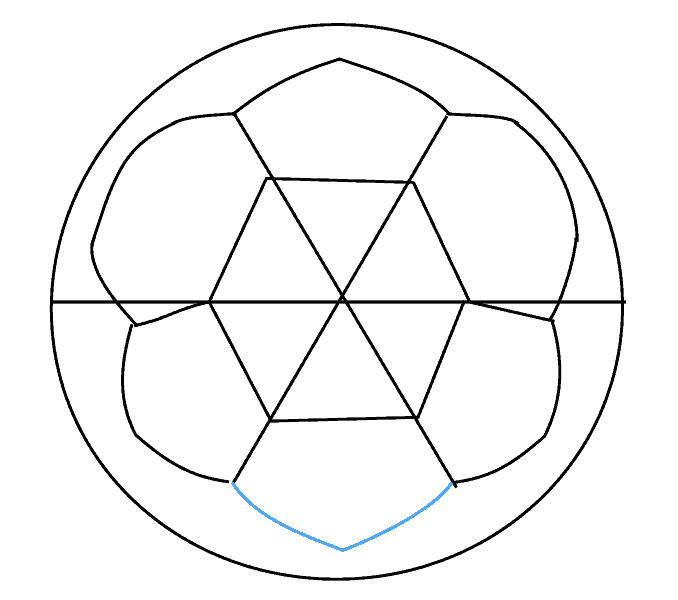 How to draw a soccer ball Step: 11