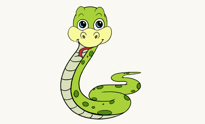 How to Draw a Cartoon Snake   Easy Step by Step Drawing Guides