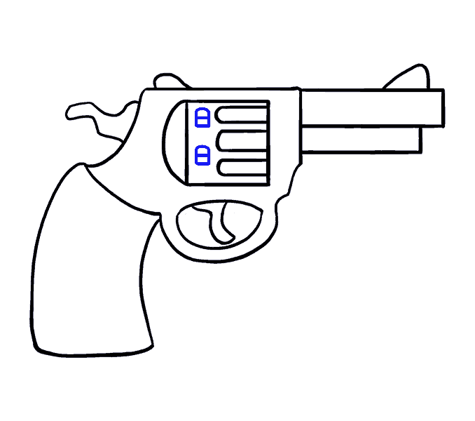 How to Draw Cartoon Revolver: Step 16