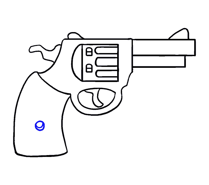 How to Draw Cartoon Revolver: Step 17