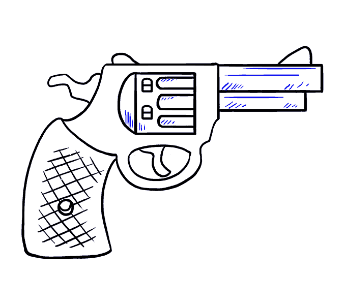 How to Draw Cartoon Revolver: Step 19