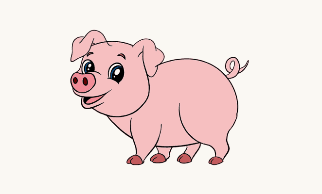how to draw a simple pig