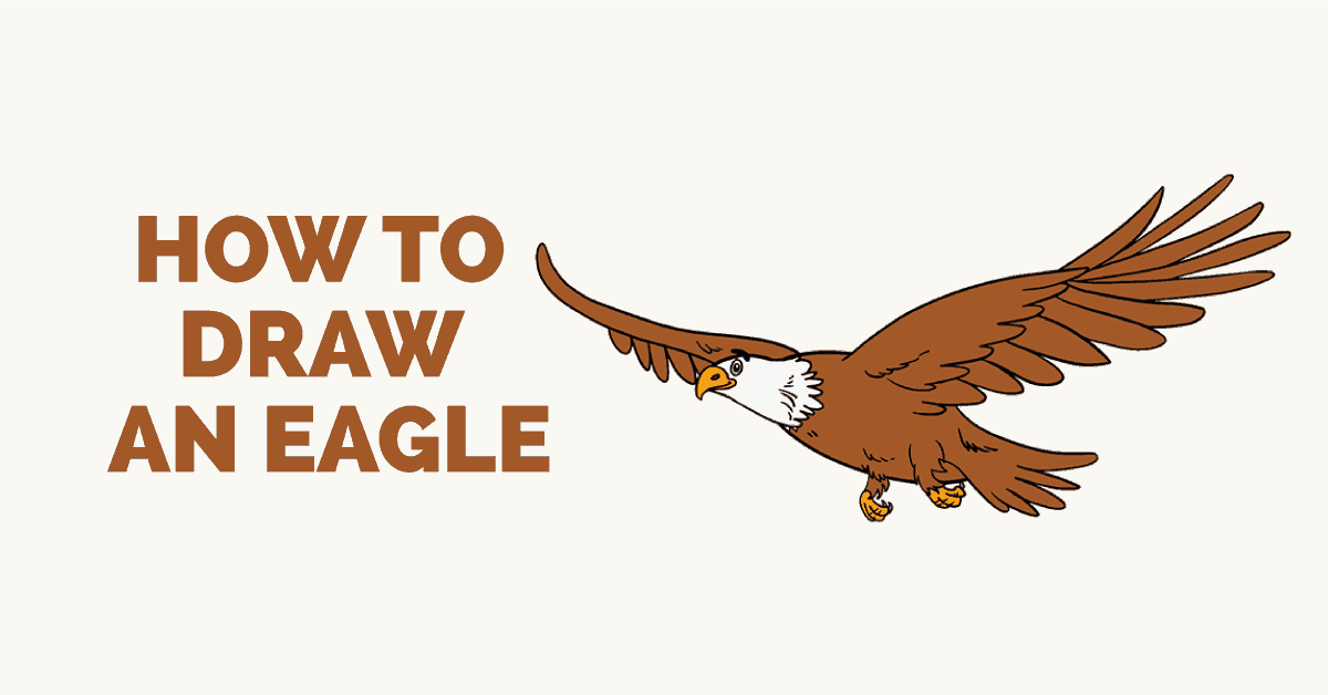 How to draw a flying eagle step by step