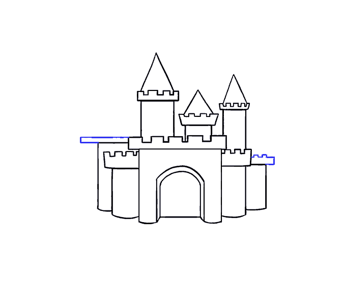 How to draw a cartoon castle Step: 11