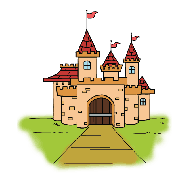 How to draw a cartoon castle Step: 21
