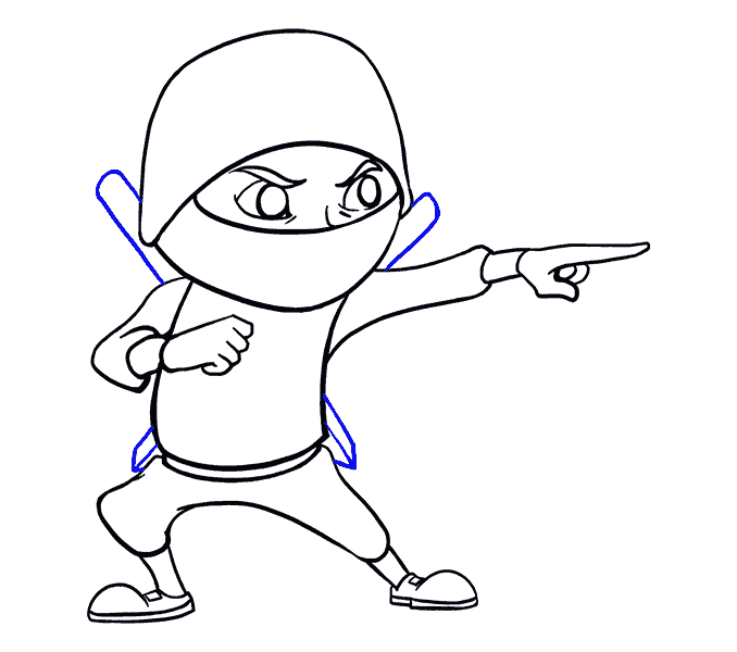 How to Draw Cartoon Ninja: Step 16