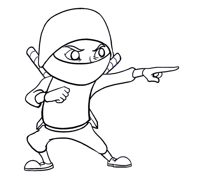 How to Draw Cartoon Ninja: Step 17