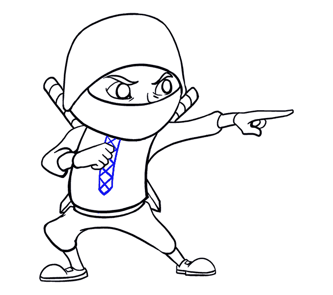 How to Draw Cartoon Ninja: Step 18