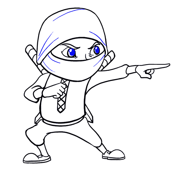 How to Draw Cartoon Ninja: Step 19