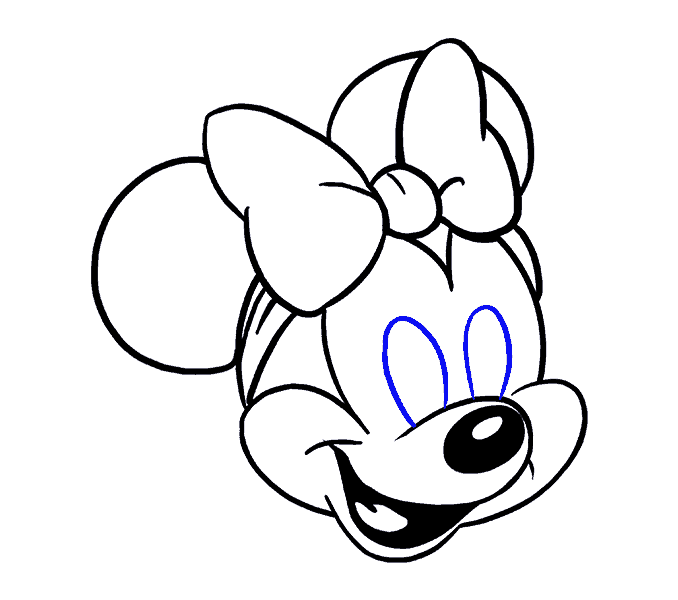 How to Draw Minnie Mouse: Step 17