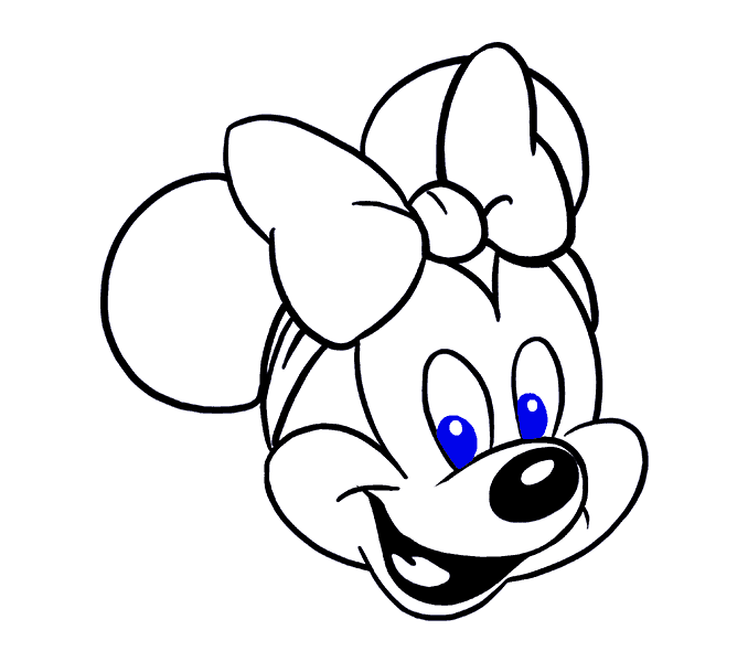 How to Draw Minnie Mouse: Step 18
