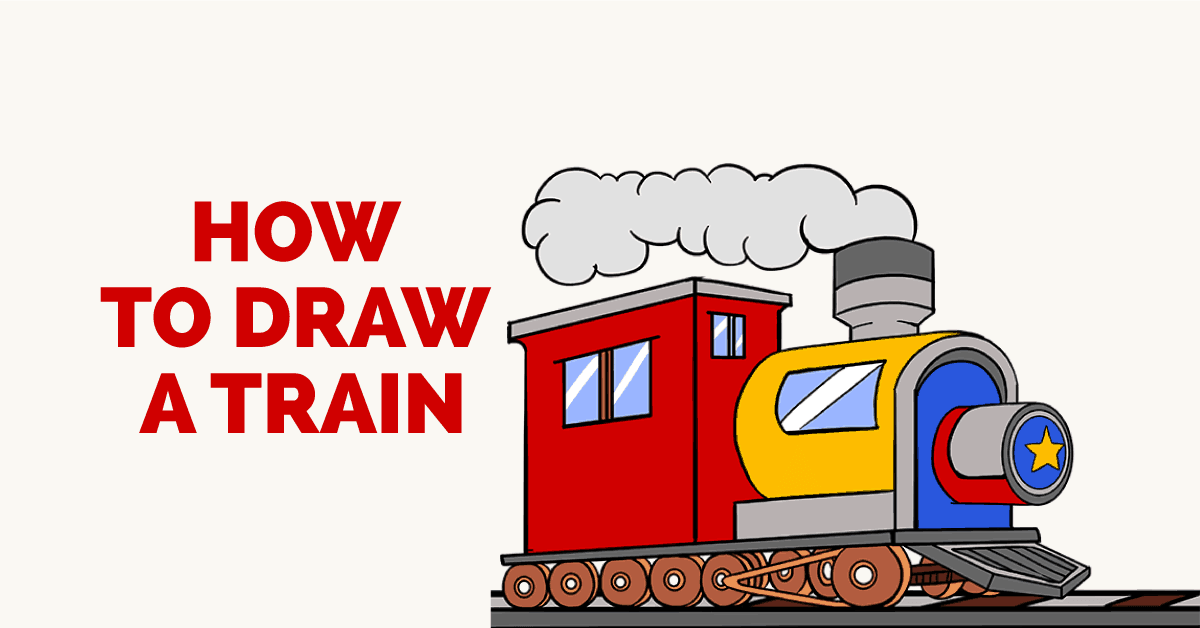 How to draw a childrens railway with a steam engine step by step