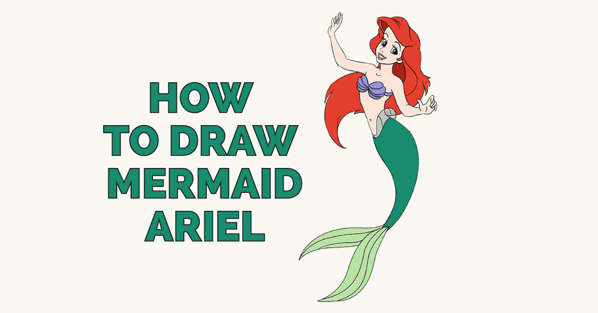 How To Draw Mermaid Ariel In A Few Easy Steps Easy Drawing Guides